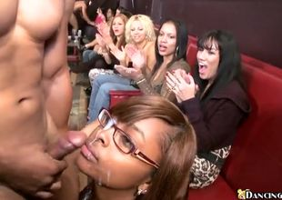 Ebony beauty gets facial cumshot at..