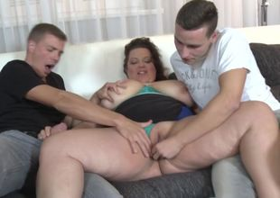 Mature meaty mom boned by 2 damsel dudes