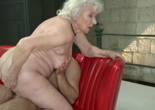 Granny Norma has shaven slit and 2..
