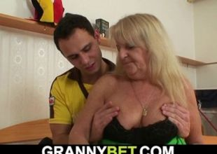 Hairy-pussy grandmother in tights..
