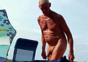 Naturist granddad at the beach - 2
