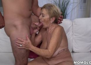 70+ gilf is in enjoy with young lady..