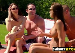Swingers get nude to take the sun in..