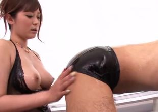 Taunting buxom Asian mommy performing..