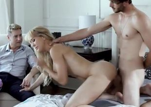 Light-haired milf cuckolds husband and..