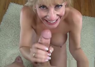 Hot MILF Olivia Parrish teat fucks..