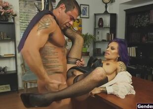 Latin milf ts nabob is analed at the..