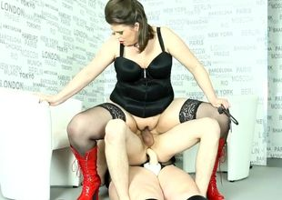 Plump femdoms pegging victim in..