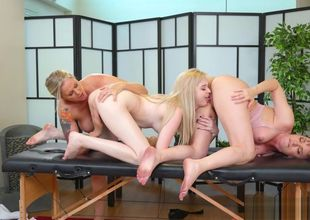 2  mature blondes rubdown wee damsel..